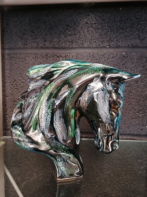 Made to order 18cm Horse figure  handpainted reactive glazes ocean colours