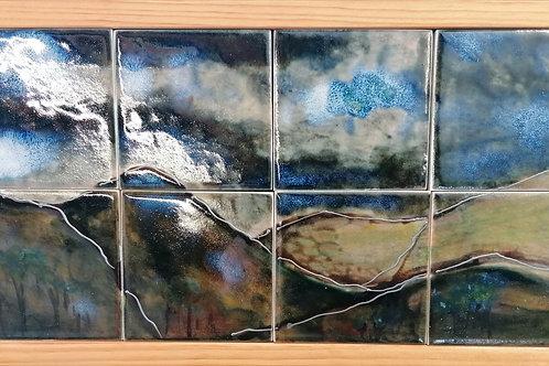 NEW framed Stoneware tile panel wonderful handpainted mountain scene in stock