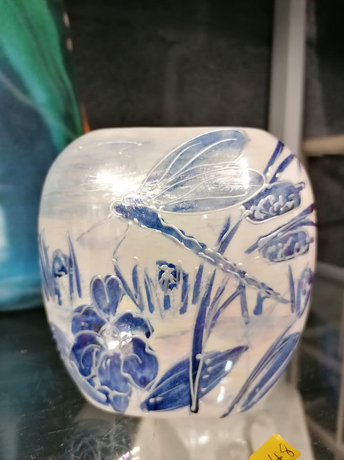 10cm blue & white with lustre hand drawn and painted vase