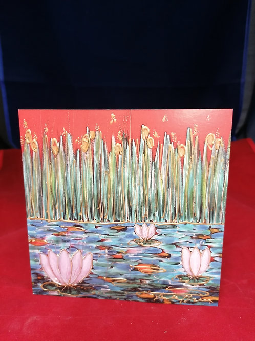 6 inch square hand finished Anita Harris Art Pottery signed card (blank)