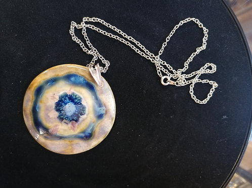 4.5cm hand painted Stoneware boxed pendant with silver chain in stock