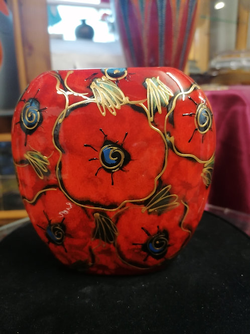 Made to order Poppy 12cm handpainted  purse vase stunning allow 21 days