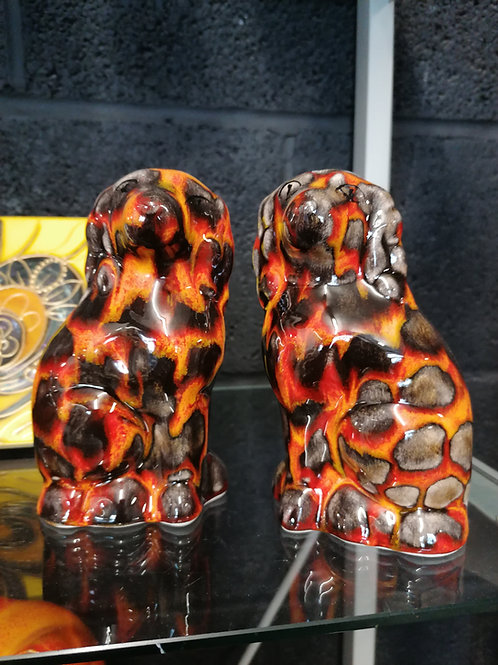 Pair is Staffordshire dogs  in our hot coals glazes 13cm
