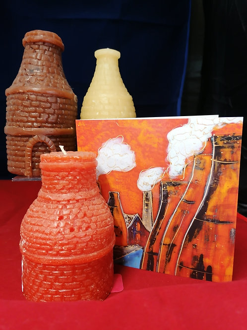 Red brown beige or orange 12 cm bottle oven candle & card please state colour
