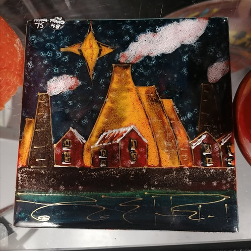 SALE STOCK NOW Potteries Christmas 6in tile unframed h/painted