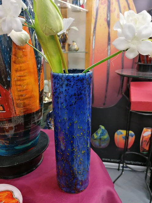 Made to order please allow 21 days 24cm cylinder vase reactive blue