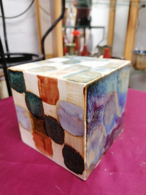 In stock NOW 15cm sq rare stoneware cube colour trial stunning effects
