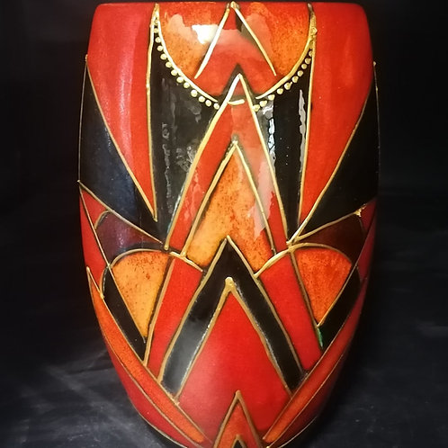 19cm oval vase painted in an Art Deco style design alive with colour