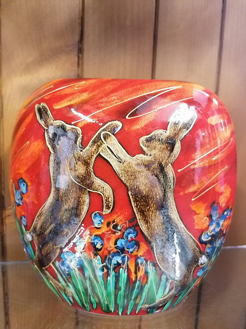 Made to order boxing Hares 19cm purse vase