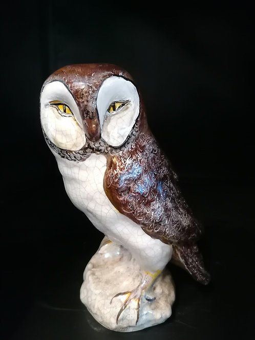 22cm one off  stylised barn owl hand painted with lustre & tube lining
