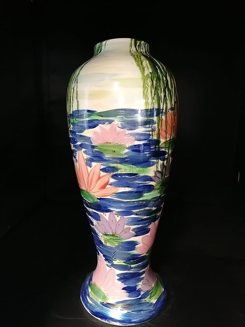 Homage to Monet 34cm hand painted lily vase with added lustre