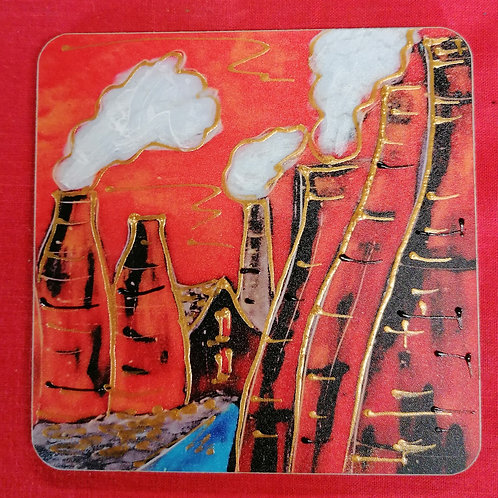 Hand painted Potteries Past  10cm Cork backed coasters set of 4