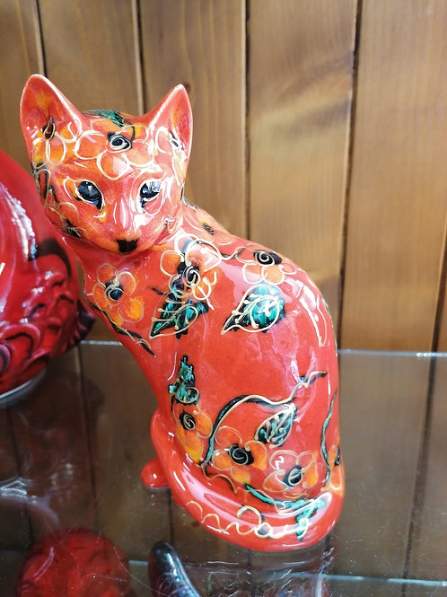 21cm in stock sitting cat painted in a floral design with gold detail