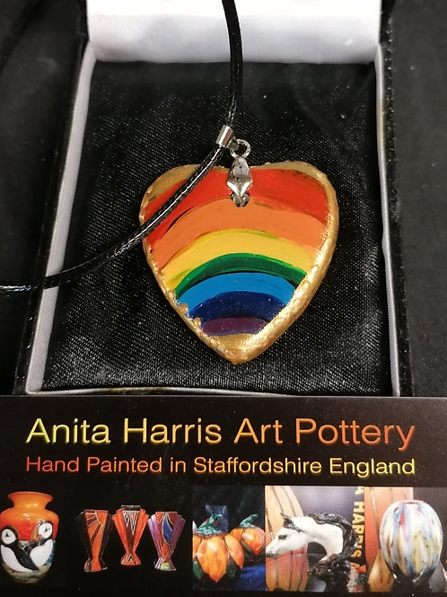 Stunning 3cm ceramic Hearts of Gold rainbow pendant hand painted and made