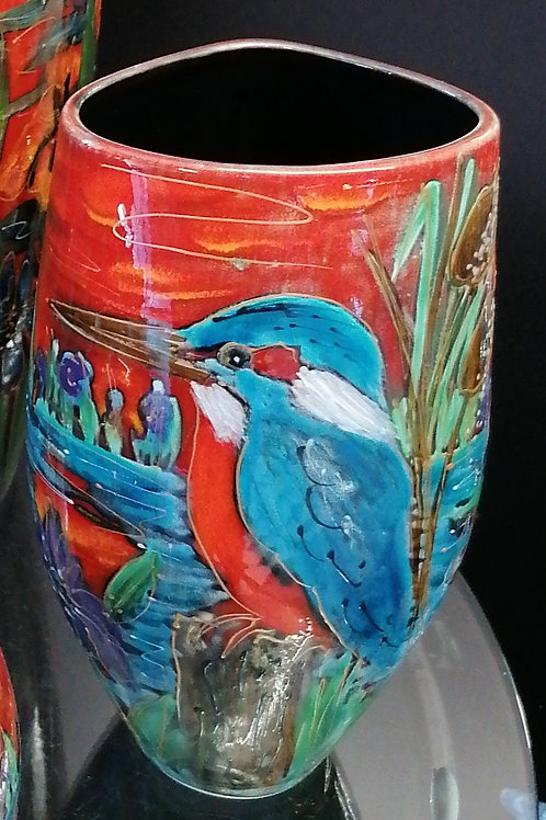 Beautiful 25 cm Hand painted Kingfisher vase