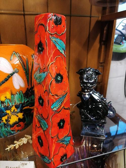Handpainted Poppies design 12ins wavy vase