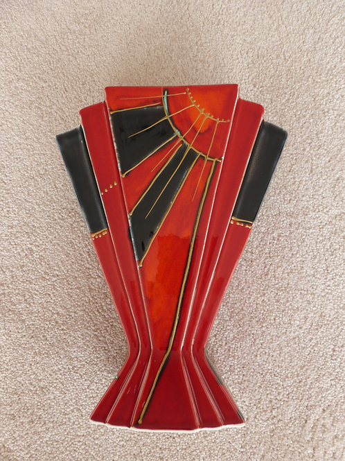 22cm handpainted deco style fan vase allow 21 days