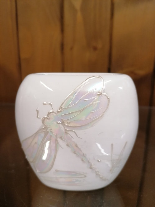 Cream lustre freehand painted dragonfly allow 21 days