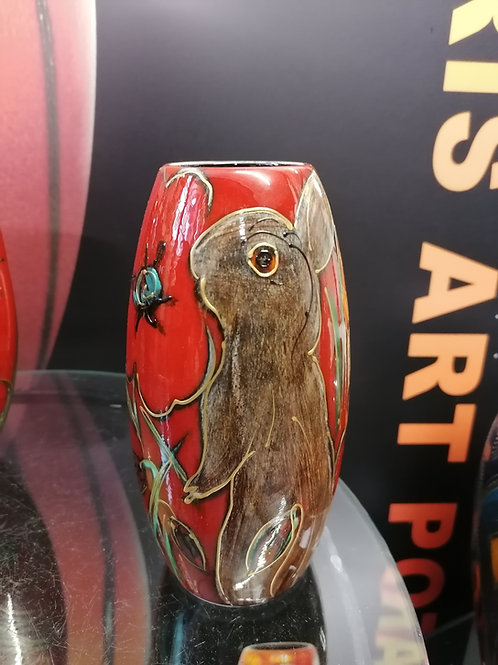 17cm vase with a sweet bunny smelling a poppy? Hand painted quaint design