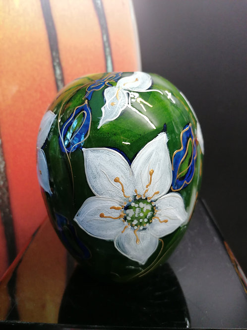 Made to order 15cm Delta Vase hand painted Hellebore Christmas Rose beautiful