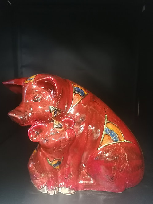 Large 33cm  pig and piglet handpainted with an abstract design with gold detail