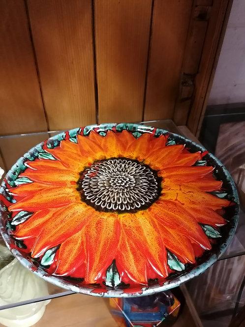 30cm sunflower dish handpainted with stunning glazes
