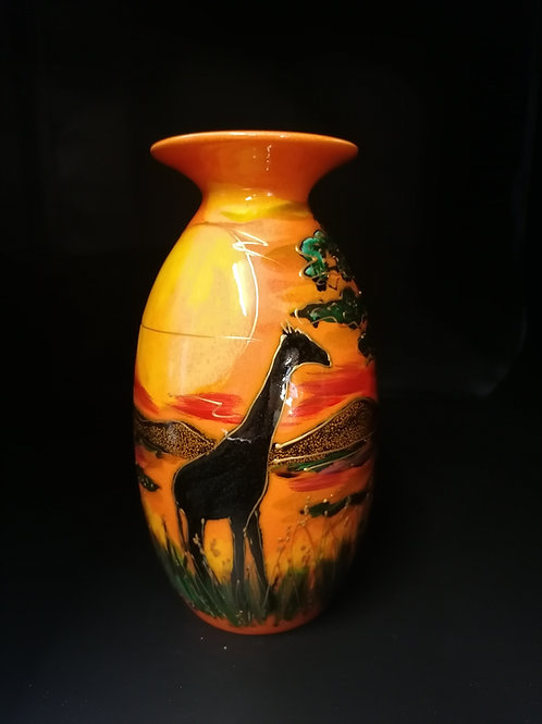 21 cm vase handpainted 'Savanna' combination of glaze and enamels