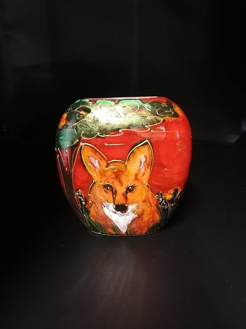 12cm Handpainted beautiful fox vase