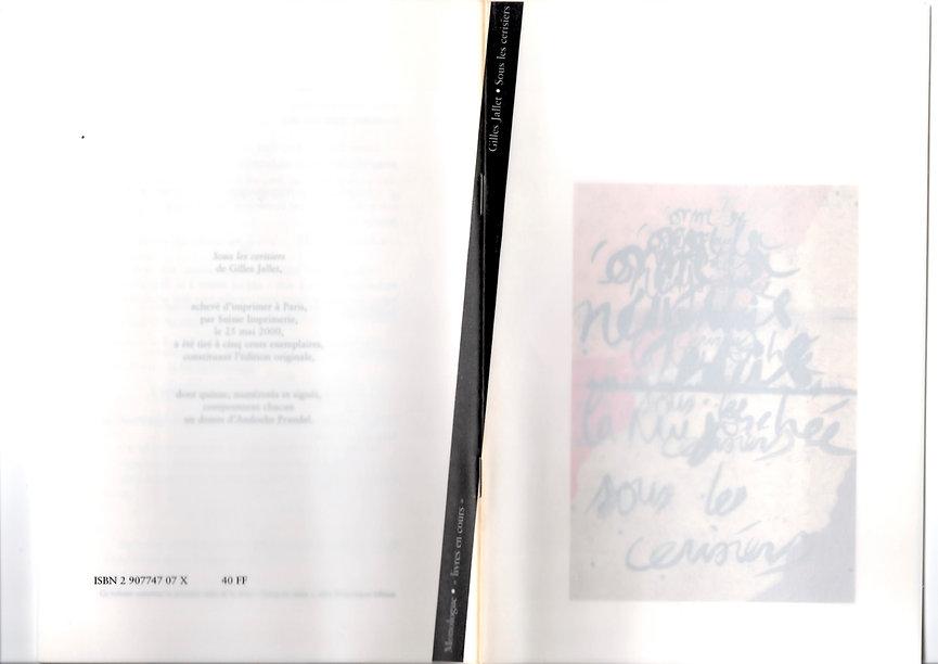 Couverture dépliée de l'édition originale de Sous les cerisiers de Gilles Jallet, paru en 2000 aux éditions Monologue.