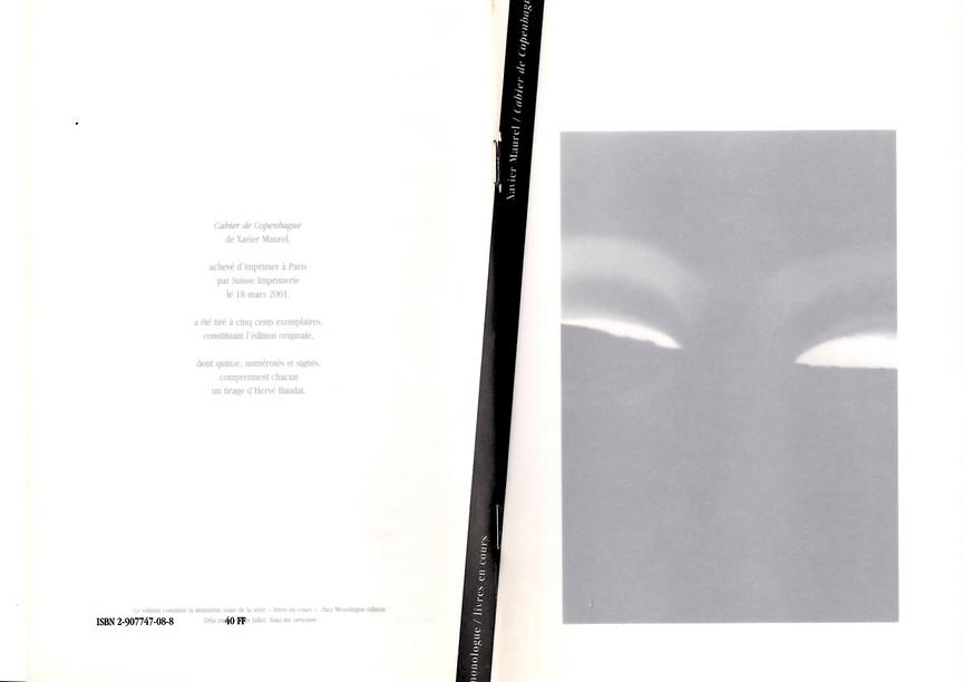 Couverture dépliée de Cahier de Copenhague de Xavier Maurel, paru en 2001 aux éditions Monologue.