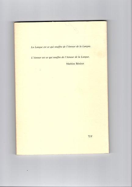 Quatrième de couverture du premier numéro de la revue Monologue