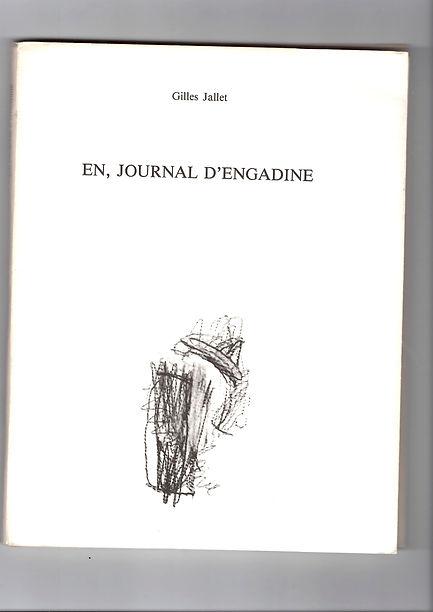 Couverture de l'édition originale de En, journal d'Engadine de Gilles Jallet, paru en 1989 aux éditions Monologue.
