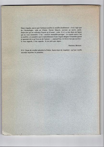 Quatrième de couverture de L'Effondrement des grâces de Xavier Maurel, paru en 1989 aux éditions Monologue.