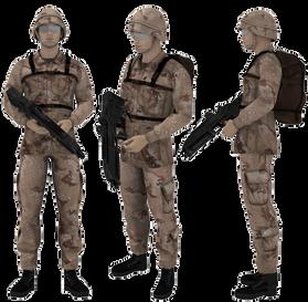 Soldado en Arma Preparada (Con casco y e