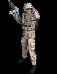 Soldado Arma en alto con equipamiento co