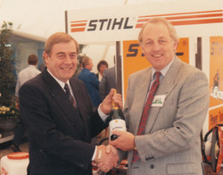 Stihl's  Peter Baker with Chris Biddle