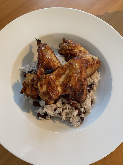 Jerk Chicken Wings with Rice & Peas