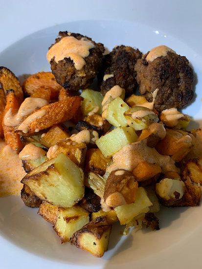 Beef Kofta with Spice Carrots and Roasted Potato with Harissa Yoghurt