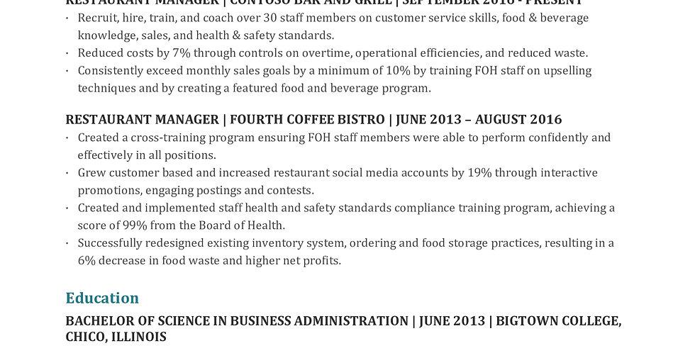 Restaurant manager resume