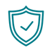 Icon for security showing shield with check mark in center