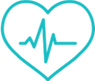 Icon of heart with pulse line in center