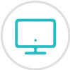 Circle icon of a computer monitor