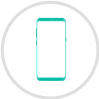 Icon of a mobile phone inside a circle represneting Nymi Lynk app