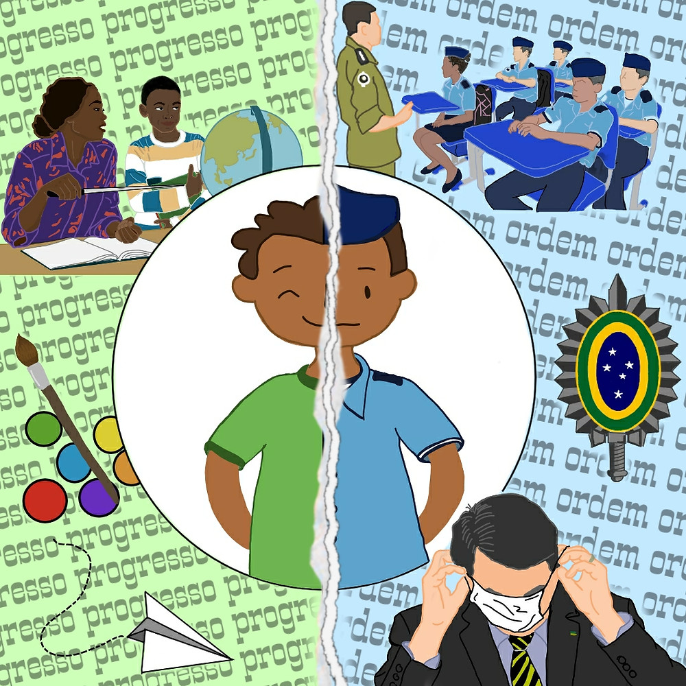 Criança se encontra entre duas realidades de educação.