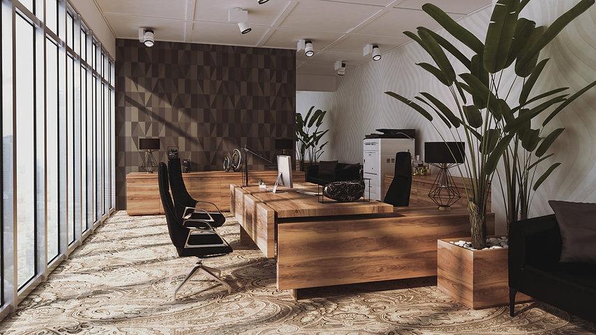 Photo d'un bureau en bois avec des chaises dans une pièce vitrée d'un immeuble