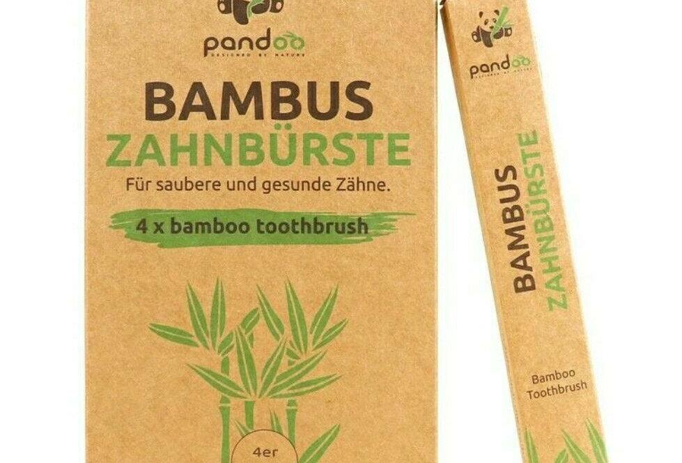 Pandoo Bambus Zahnbürsten 4er Pack