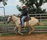 Always keep your inside hand slightly above the outside hand so your seat will stay in the center. Larry French Horsemanship