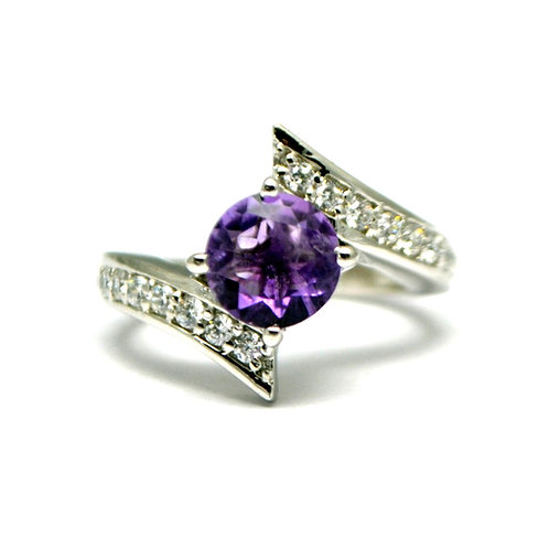 Natural Amethyst Solitaire design statement ring for women 925 Sterling Silver