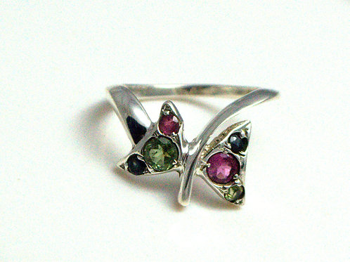Multi-color Tourmaline Butterfly style Ring in 925 Sterling Silver