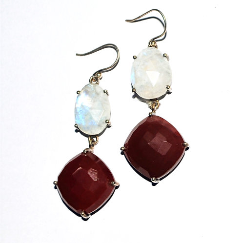 Natural Moonstone & Brown Stone Earrings in 925 Sterling Silver